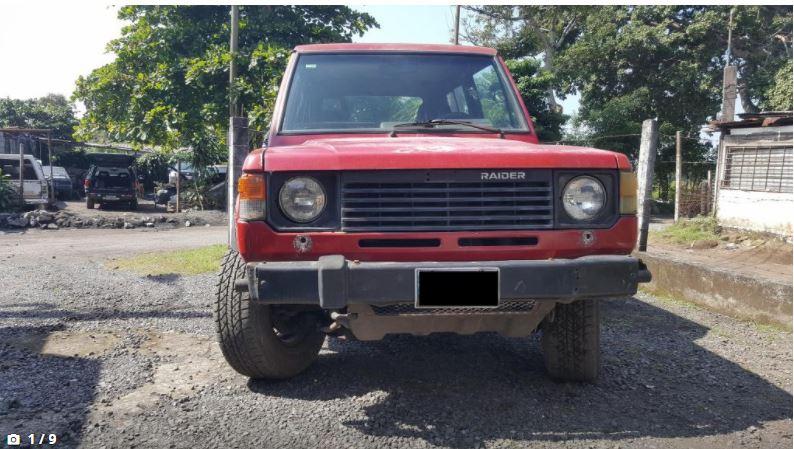 Dodge Raider 1989 ubicado en Escuintla, Guatemala Doge Raider 1989 4x4 funcional 6 cilindros 2 Puertas Caja Automática Motor 3000cc a Gasolina. papeles en orden Tel. 5669 2583 Recibo llamadas y what app Precio Q. 13000 poco Negociable, con traspaso obligatorio.